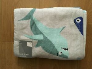 Next Boys Silly Sharks 100% Cotton Bath Towel - BNWT