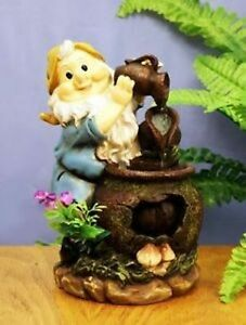 Colourful Indoor Gnome Water Feature or Outside Garden Gnome Ornament - D