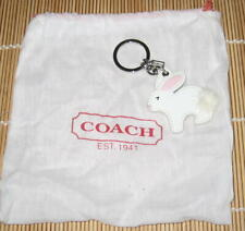 Coach BUNNY RABBIT Fob Key Ring Keychain Leather Authentic Dust Bag