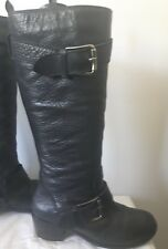 VTG Black pebbled LEATHER motorcycle BOOTS Buckle straps round toe zip side 7.5