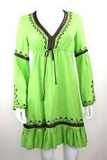 Moda International Lime Green Brown Embroidered Peasant Peplum Hem Dress size S