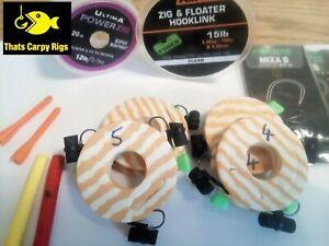 6 Zig Rigs Korda Fox Ultima Hooklink - Adjustable Zig Aligner Hair Zig Rig Carp