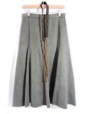 Petite Sophisticate Sz 8 Swing Skirt Olive Green w/ Leather Tie Belt Faux Suede
