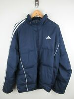 Adidas Puffer Jacket Mens Size L Duck Down Navy Full Zip Heavy Weight 2006