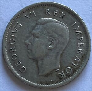 SOUTH AFRICA 1937 6 PENCE SILVER COIN XF KM27