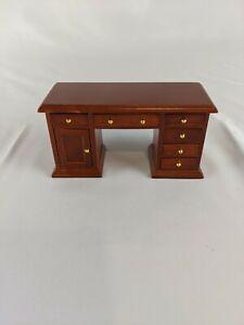 Dollhouse Miniature Knee Hole Desk 2 Sided 1:12 Scale Wood