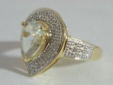 Stunning Art Deco Style Green Amethyst & Diamond 9K Gold Ring Size O