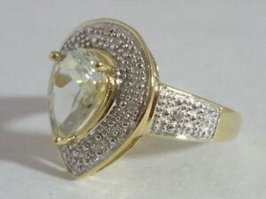 Stunning Art Deco Style Green Amethyst & Diamond 9K Gold Ring Size O
