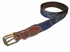 Rugby Ralph Lauren Indigo Blue Denim Prairie Floral Brown Leather Polo Belt XL
