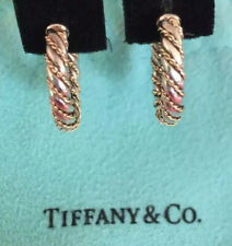 Tiffany&Co Twisted Rope Heart Earrings Hoops 18k Gold Sterling Silver Gorgeous!