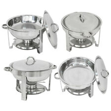 4 Pack Round Chafing Dish 5 Quart Stainless Steel Tray Buffet Catering Warming
