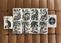 Vintage Exquisitely Carved Thick  Bone and Bamboo Mahjongg Set 152 Tiles NMJL