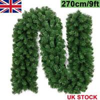 9ft Christmas Garland Decorations Fireplace Artificial Wreath Pine Green