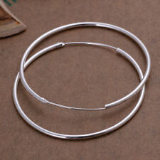 UN3F Surface Pure Silver Plated Round Big Large Hoop Huggie Loop Alloy Earrings