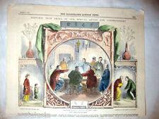 1860 ANTICA STAMPA DEL VOLUME ILLUSTRATED LONDON NEWS GIOCO CARTE MORRA IN CINA