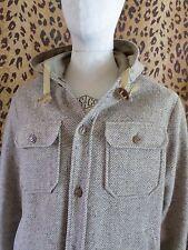 HERRINGBONE TWEED tan brown wool men's hoodie parka coat jacket XL