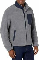 NEW G.H Bass & Co All Over Sherpa L Grey Deep Pile Fleece Jacket Lined Full Zip