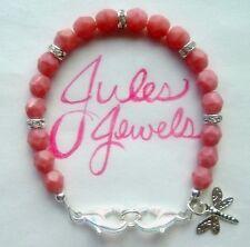 Czech Glass Rose Pink Coral Medical Alert ID Bracelet SUMMER!