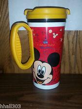 2009 Disney Parks Coca cola Travel Mug Cup Yellow Handle/Lid Mickey Goofy Donald
