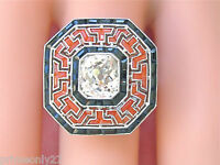 ESTATE ART DECO 2.1ct CUSHION DIAMOND ONYX HALO CORAL PLATINUM BIG COCKTAIL RING