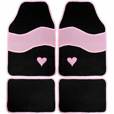 LOVELY PINK & BLACK UNIVERSAL FIT CAR MAT SET - 4 MATS - FOR FRONT & BACK OF CAR