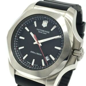 VICTORINOX 241682 Inox Date Quartz Wristwatch SS / Rubber Black