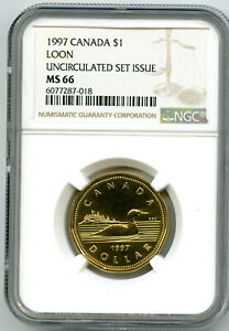 1997 CANADA $1 LOON NGC MS66 UNCIRCULATED LOONIE POP=5 UNKOWN MINTAGE