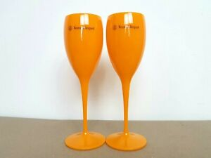 2x Veuve Clicquot Acrylic Plastic Champagne Orange Glasses Flutes 195ml 20cm
