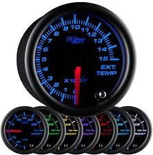 52mm GlowShift Black 7 Color 1500 F Pyrometer EGT Gauge - GS-C708-1500