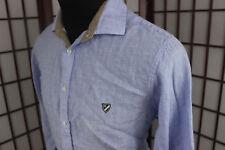 Daniel Cremieux Pure Linen LS Shirt Sz XL Blue White Plaid Pattern Embroidered