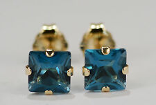 GENUINE NATURAL MINED PRINCESS LONDON BLUE TOPAZ EARRINGS~14KT YELLOW GOLD~5MM
