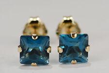 BEENJEWELED GENUINE MINED PRINCESS LONDON BLUE TOPAZ EARRINGS~14KT YLW GOLD~5MM
