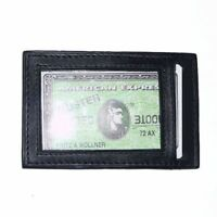 BLACK Mens Genuine LEATHER THIN Credit Card ID Wallet  Holder Front Pocket