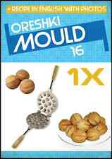 16 SWEET RUSSIAN ORESHKI NUTLETS METAL MOULD + RECIPE!