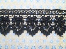 """Laces Galore~ Beautiful Black Flower GUIPURE/VENISE Lace  2"""" wide"""