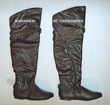 BOOTS - FASHION - KNEE-HIGH - BROWN - TEXTILE LEATHER – BUCKLES - SZ 6 – NWT $45