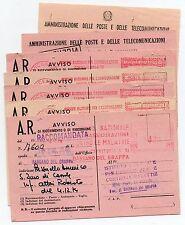 1963/77 REPUBBLICA LOTTO 7 AVVISI DI RICEVIMENTO AFFRANCATURA A MACCHINA C/752