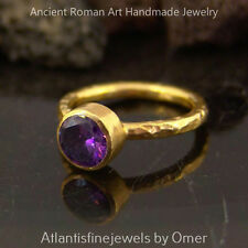 ** FREE SIZING ** HANDMADE AMETHYST STACK RING OMER 24K YELLOW GOLD OVER SILVER