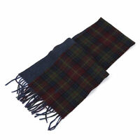 Polo Ralph Lauren 2-face Lambswool Scarf made in Italy - Wine/Blue Herringbone -