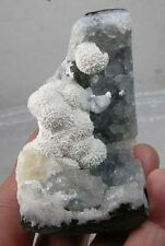 #8 India Rare Raw Thomsonite Crystal Growing on Blue Quartz Geode Specimen 85mm