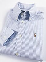 Ralph Lauren Shirt Women's Harper Oxford Powder Blue Stripe Custom Fit