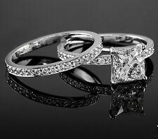 Real 2.11 Ct Princess Cut Diamond Engagement Bridal Ring Set F,VS1 GIA 18K WG