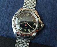 Rare USSR Watch Wostok Vostok Black KOMANDIRSKIE Soviet Vintage Serviced