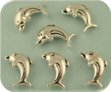 2 Hole Beads Dolphins Fish OCEAN Sand BEACH Sea Silver Metal Sliders QTY 6