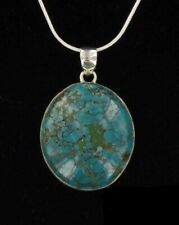 in sterling on sterling chain Beautiful Vintage Spider Turquoise Pendant banded