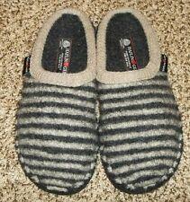 Haflinger Gray tan stripe Wool Mules Slides Slippers Shoes women 40/9