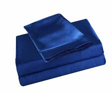 Honeymoon Home Fashions Ultra Luxury and Soft Satin King Bed Sheet Set - Blue