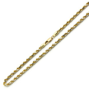 Men's 3mm 14K Two Tone Gold Chain Rope Chain Necklace / Gift box
