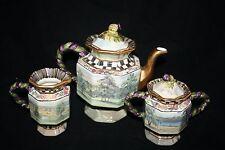 MacKenzie Childs Maclachlan Retired 3-Piece Tea Set Pot Creamer Sugar NICE Rare