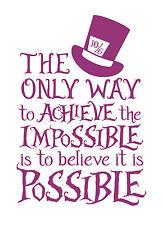 Alice in Wonderland Pink impossible Typography Decorative Vinyl Wall Sticker